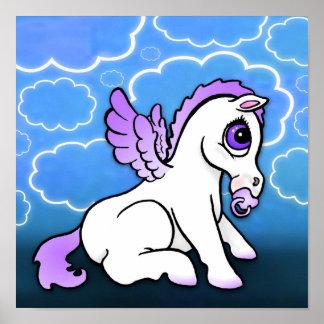 Bebé Pegaso con - púrpura - la impresión binky Póster