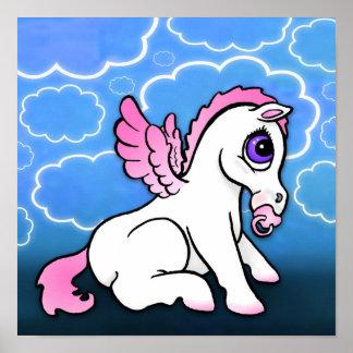Bebé Pegaso con - rosa - la impresión binky Póster