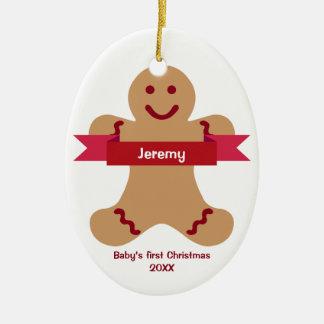Bebé rojo del nombre de la bandera del niño del adorno navideño ovalado de cerámica
