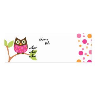 Bebé rosado brillante del búho tarjetas de visita mini