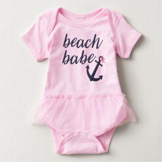 Bebé rosado de la playa - equipo del tutú de la body para bebé