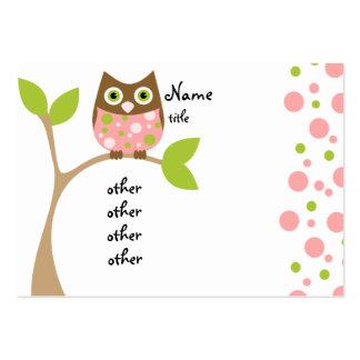 Bebé rosado del búho tarjetas de visita grandes