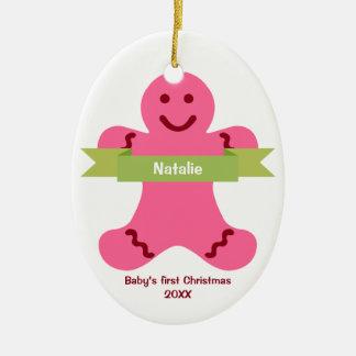 Bebé rosado del nombre de la bandera del verde del adorno navideño ovalado de cerámica