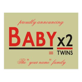 """Bebé x 2, orgulloso anunciando, el """"su nombre"""" f… postal"""