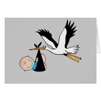 Bebé y cigüeña recién nacidos tarjeton