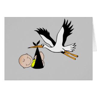 Bebé y cigüeña recién nacidos tarjeta de felicitación