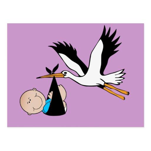Bebé y cigüeña recién nacidos postales