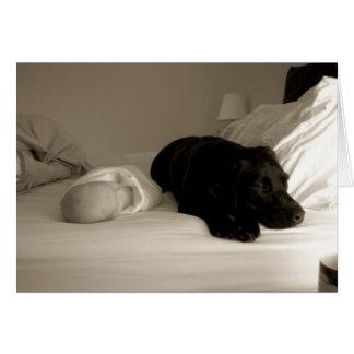 Bebé y perro tarjeta