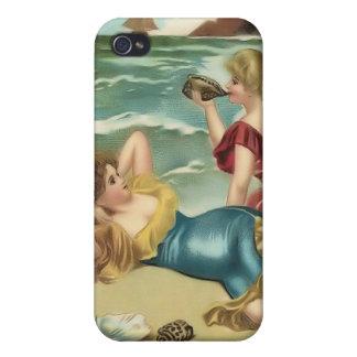 Bebés 4 de la playa del bañista de Sun del vintage iPhone 4 Coberturas