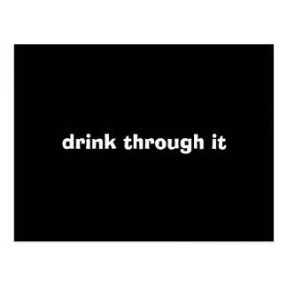 bebida a través de ella postal