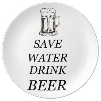 Bebida de la comida de la cerveza plato de porcelana