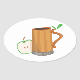 Bebida de la sidra calcomanías ovaladas