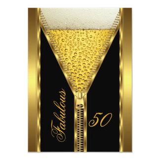 Bebida elegante 2 de la cerveza del oro de la invitación 11,4 x 15,8 cm