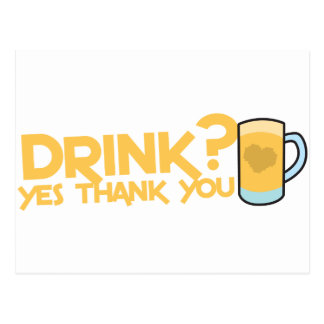 ¿bebida? gracias sí postal
