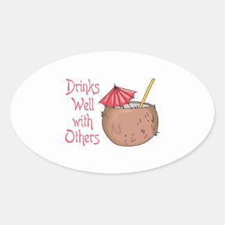 Bebidas bien con otras colcomanias oval