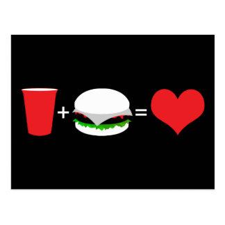 bebidas + hamburguesas = amor tarjeta postal