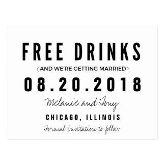 Bebidas libres divertidas que casan reserva las postal