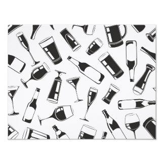 Bebidas y vidrios negros del modelo invitación 10,8 x 13,9 cm