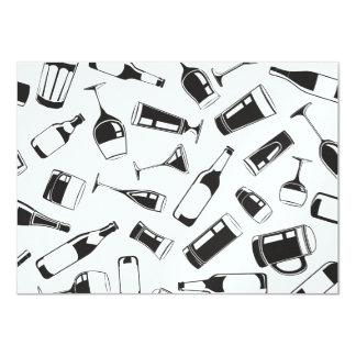 Bebidas y vidrios negros del modelo invitación 11,4 x 15,8 cm
