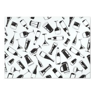 Bebidas y vidrios negros del modelo invitación 12,7 x 17,8 cm