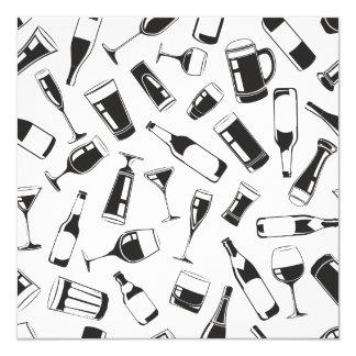 Bebidas y vidrios negros del modelo invitación 13,3 cm x 13,3cm