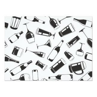 Bebidas y vidrios negros del modelo invitación 13,9 x 19,0 cm