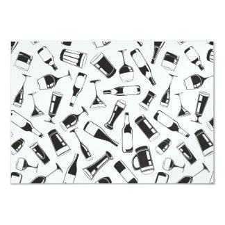 Bebidas y vidrios negros del modelo invitación 8,9 x 12,7 cm