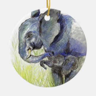 Becerro y madre, lápiz del elefante de la acuarela ornatos