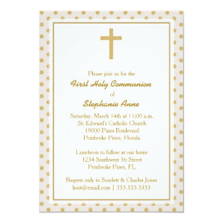 Beige de la comunión con los lunares del oro invitación 12,7 x 17,8 cm