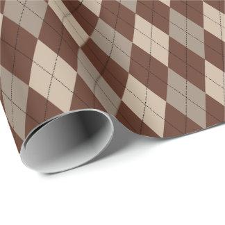 Beige grande y papel de embalaje de Brown Argyle