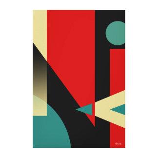 Beige rojo del trullo negro geométrico chillón del lienzo envuelto para galerias