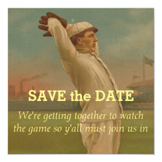 Béisbol 1 del vintage invitación 13,3 cm x 13,3cm