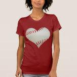 Béisbol americano en una forma del corazón camiseta