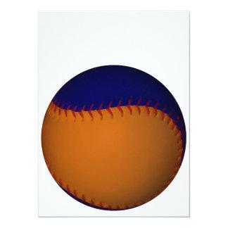 Béisbol anaranjado y azul invitación 13,9 x 19,0 cm