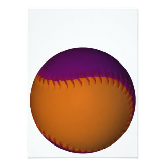 Béisbol anaranjado y púrpura invitación 13,9 x 19,0 cm