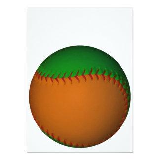 Béisbol anaranjado y verde invitación 13,9 x 19,0 cm