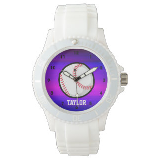 Béisbol, azul violeta del softball y magenta relojes de pulsera