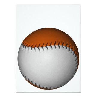 Béisbol blanco y anaranjado invitación 13,9 x 19,0 cm