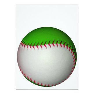 Béisbol blanco y verde invitación 13,9 x 19,0 cm
