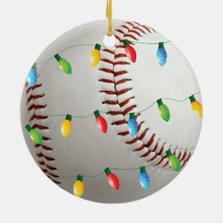Béisbol con el ornamento del día de fiesta de las