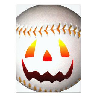 Béisbol de Halloween Jack O'Lantern Invitación 13,9 X 19,0 Cm