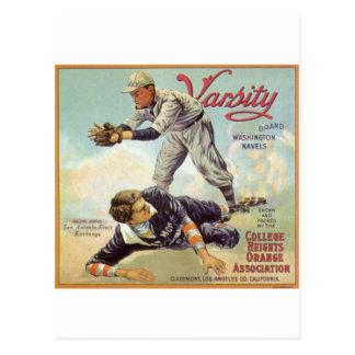 béisbol del equipo universitario tarjetas postales