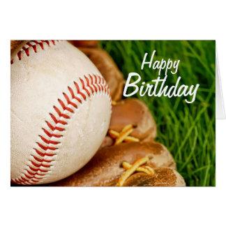 Béisbol del feliz cumpleaños con el mitón tarjeton