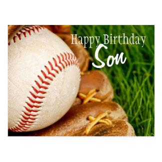 Béisbol del hijo del feliz cumpleaños con el mitón postales