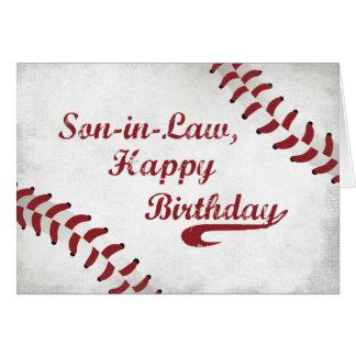 Béisbol grande del Grunge del cumpleaños del yerno Tarjeta De Felicitación
