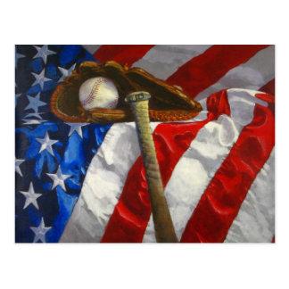 Béisbol, guante, palo y bandera americana postal