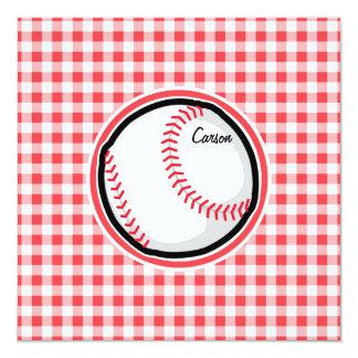 Béisbol; Guinga roja y blanca Invitación 13,3 Cm X 13,3cm