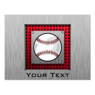 Béisbol; Mirada de aluminio cepillada Postal