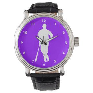 Béisbol púrpura violeta, softball relojes de pulsera