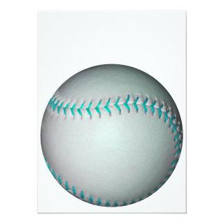 Béisbol/softball azules claros de las puntadas invitación 13,9 x 19,0 cm
